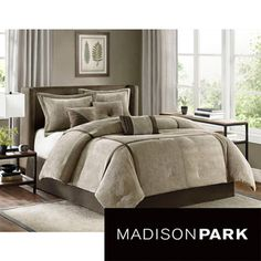 @Overstock.com - Madison Park Houston 7-Piece Comforter Set - Turn your bedroom into an elegant and relaxing sanctuary with this stylish seven-piece comforter set. The micro corduroy material is soft and warm against the skin. The cream and brown color scheme matches any contemporary or modern decorating style.  http://www.overstock.com/Bedding-Bath/Madison-Park-Houston-7-Piece-Comforter-Set/7109330/product.html?CID=214117 $124.99