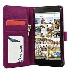 Nexus 5X Case, Abacus24-7 Google Nexus 5X Wallet Case, Leather Nexus 5 2015 Flip Cover with Card Holder and Kickstand - Purple Flip Case for LG Google Nexus 5 Phone