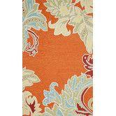 Like the colors.  Found it at Wayfair - Ravella Ornamental Leaf Boder Orange Indoor/Outdoor Area Rug