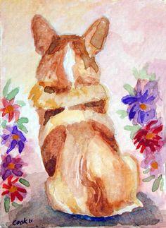 Pembroke Welsh Corgi Giclee Fine Art Print on by DogArtByLyn, maybe @Kayla Peavy will paint a portrait of Albert for me.