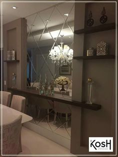 sala jantar espelho bisote mirrored wallsbeveled - Mirror Wall Designs