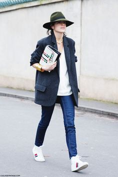 Leandra Medine // green hat, oversized blazer, skinny jeans & high-top sneakers #style #fashion #streetstyle #manrepeller
