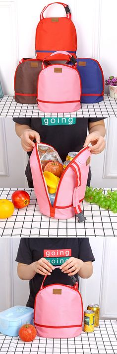 US$6.23 SaicleHome Thicked Lunch Tote Bag Keep Fresh Cooler Bag Handheld Belt Food Picnic Bags Travel Bags