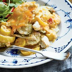 Chicken-and-Squash Casserole | Get all the satisfaction of a hearty casserole with none of the messy cleanup. Preparing it in a slow cooker will ensure an even more tender bite.