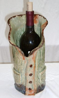 Vase, Wine Chiller, Utensil Holder by OysterPlateCove on Etsy Hand Built Pottery, Slab Pottery, Pottery Vase, Ceramic Pottery, Ceramic Art, Wine Chillers, Wooden Lanterns, Ceramic Spoons, Pottery Sculpture