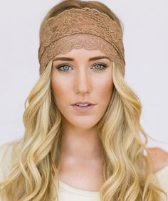 Taupe Floral Lace Headband