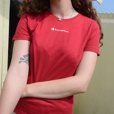 7c83384f4 Angel 🌹 s Shop. Red champion spellout top  t-shirt ...