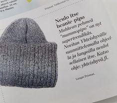 DIY - Neulottu beanie-pipo   Martat Knit Crochet, Crochet Hats, Crochet Ideas, Martini, Knitted Hats, Beanie, Knitting, Knitting Hats, Tricot