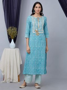 The Loom- An online Shop for Exclusive Handcrafted products comprising of Apparel, Sarees, Jewelry, Footwears & Home decor. Kurti Embroidery Design, Embroidery Suits, Indian Designer Outfits, Designer Dresses, Designer Kurtis, Indian Dresses, Indian Outfits, Tunic Dress Patterns, Kurta Neck Design
