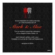 Black White & Red Same-Sex Couples Wedding Invite Personalized Invites                                        Black White & Red Same-Sex Couples Wedding Invite Personalized Invites                tagged with: elegant, same-sex wedding, wedding, invite, red, black, white, damasks, vintage, simple    Elegant black red white damasks same-sex couples wedding invitation . Different color combination can be requested by emailing..