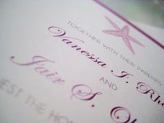 Starfish Sand Plum and Ivory Wedding Invitation - Florida Keys Destination Wedding - Paper goods by Le Petit Papier - www.lepetitpapierbymonica.com
