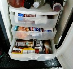 GREAT Fridge IDEA for TRUCKERS: Easy storage idea for your little fridge!