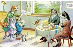 Happy Birthday Cats by Alfred Mainzer, artist.