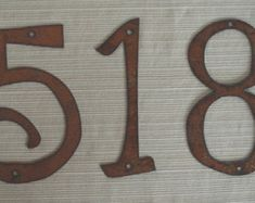Individual House Numbers - Rustic Metal - 4 inch TO 8 inch - Size Options