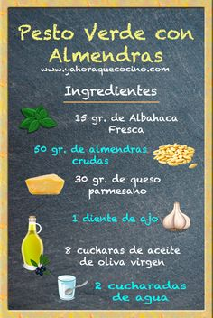 Ingredientes Salsa Pesto Verde con Almendras