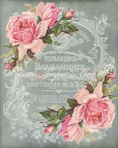Delightful vintage French Typography embellished with roses. Shabby Chic Pink, Vintage Shabby Chic, French Vintage, Shabby Chic Crafts, French Chic, Decoupage Art, Decoupage Vintage, Vintage Paper, Scrapbooking Vintage