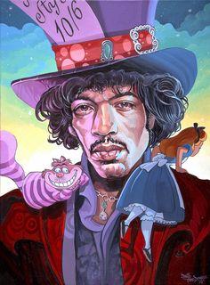 Alice in Wonderland by Dave MacDowell, Jimi Hendrix as the Mad Hatter Jimi Hendrix, Mundo Hippie, Pop Art, Chesire Cat, Adventures In Wonderland, African American Art, Cultura Pop, Art Plastique, Oeuvre D'art