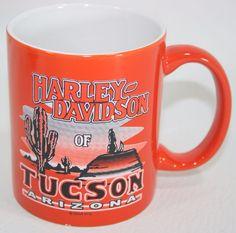 Tucson Arizona Harley Davidson Coffee Mug Cup Orange