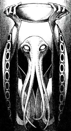 """We all know mind flayers must worship Cthulhu, even if the rules can't come right out and say it.  (George Barr, from AD&D adventure """"The Hunt in Great Allindel"""" by Richard W Emerich, Dungeon magazine No. 17, TSR, May/June 1989.)"""