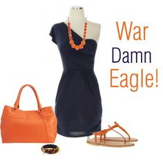 love the blue dress and orange necklace together
