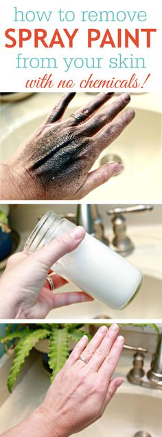 How to Remove Spray Paint from Your Skin with Coconut Oil and Baking Soda. Throw away those toxic cleaning products. Just use coconut oil and baking soda to clean spray paint from your skin. Simple and natural! Tutorial via