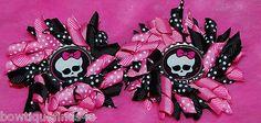 Set of (2) MONSTER HIGH SKULL PINK BLACK Korker Hair Bows with Bottle Caps .. @eBay! http://r.ebay.com/o9OuC1