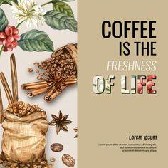 Coffee arabica beans bag with coffee cup. Coffee Menu, Coffee Cups, Coffee Maker, Tea Cafe, Cinnamon Coffee, Protein Ball, Coffee Design, Balls Recipe, Pistachio