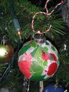 Glass Ornament + tissue + glue = Preschool Parent Gift for Christmas