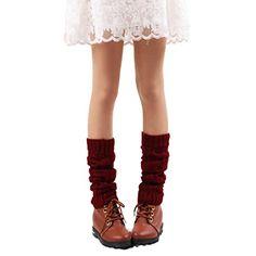 DEESEE(TM) Leg Cuffs Boot Socks Womens Leg Warmers Hollow Out Knee Leg Socks (Red)