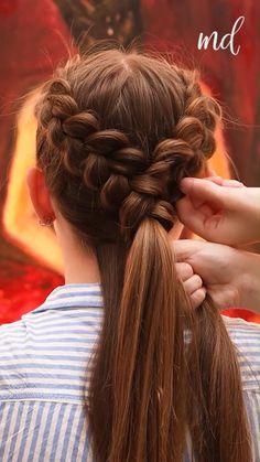 Pretty Braided Hairstyles, Bun Hairstyles For Long Hair, Braids For Long Hair, Girl Hairstyles, Active Hairstyles, Front Hair Styles, Medium Hair Styles, Curly Hair Styles, Hair Style Vedio