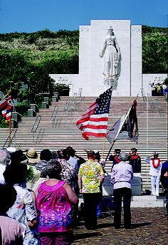 Memorial Day services at the National Cemetery of the Pacific (Punchbowl Crater).