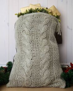 Personalised Cable Knit Santa Sack Could someone knit 4 for me lol