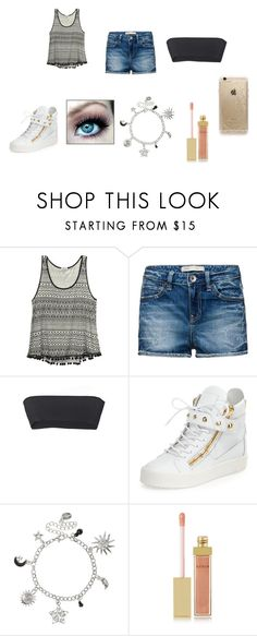 """#4"" by nabusdriv ❤ liked on Polyvore featuring Wet Seal, Versace, Giuseppe Zanotti, AERIN and Rifle Paper Co"