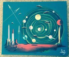 EL GATO GOMEZ PAINTING RETRO 1950'S SCI-FI PULP OUTER SPACE ROBOT MARTIAN UFO #Modernism