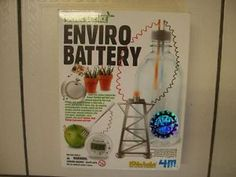 Collectible Green Science Enviro Battery By Kids Labs for kids 8 years and older.  Allows creative science oriented kids the tools to build a simply battery system from natural products like mud, lemons and water to power things like a light bulb.  Only $25.