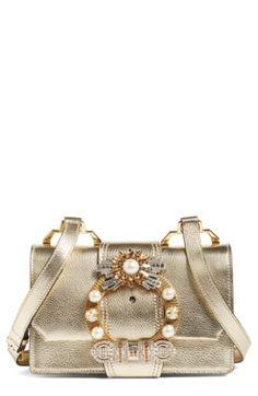 Miu Miu Madras Crystal Embellished Leather Shoulder Bag Leather Shoulder Bag,  Leather Bag, Leather 3f1a5a20ac
