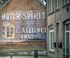 BP Motor Spirit / L'Alliance Anvers ghost signs, Flanders, Belgium