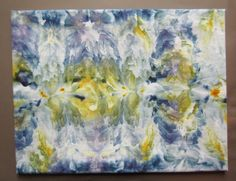 blue and yellow textile wall art. $50.00, via Etsy. wall art, textile art, ice-dyeing, fabric art, wall hanging