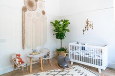 Christina & Ant Anstead's New Home | Christina on the Coast | HGTV Bamboo Roof, Wood Plank Ceiling, Nursery Pictures, Neutral Color Scheme, Grey Trim, Boho Nursery, Metal Beds, Modern Farmhouse Style, Loft Spaces