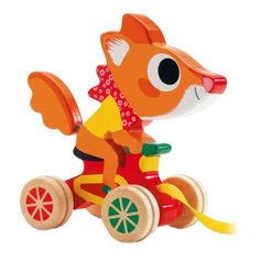 Scouic de vrolijke vos is een echte snelheidsduivel. Op zijn fietsje racet hij door de kamer, zonder sporen op de vloer na te laten, dankzij de rubberen ringetjes rond zijn wielen.