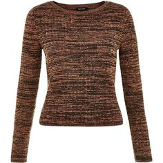 Brown Space Dye Ribbed Jumper ($27) ❤ liked on Polyvore featuring tops, sweaters, brown pattern, ribbed sweater, rib sweater, ripped tops, jumpers sweaters and long sleeve tops