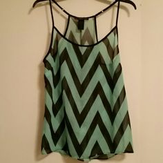 Cute tank top Green and black loose fitting tank top. It's super cute, see through and size Large! Tops Tank Tops