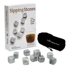 Sipping Stones - Set of 9 Grey Whisky Chilling Rocks in Gift Box with Muslin Carrying Pouch - Made of 100% Pure Soapstone: Amazon.com: Kitchen & Dining