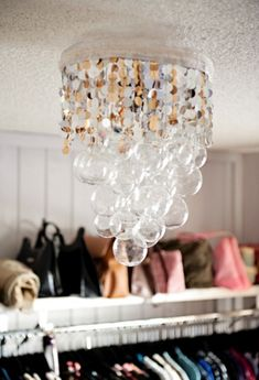 Fashionable DIY Chandelier With Bubbles | Shelterness ... would be fun for christmas! especially if you add a couple of snowflakes :)