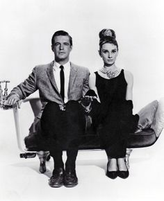Audrey Hepburn and George Peppard photographed for publicity stills for Breakfast at Tiffany's