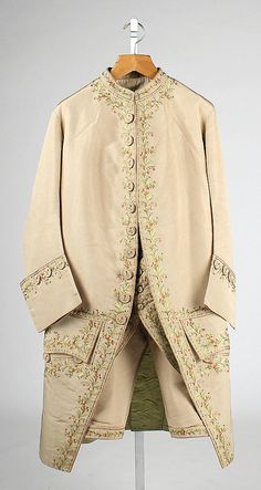 Suit  Date:     ca. 1770 Culture:     British Medium:     silk, cotton Dimensions:     Length at CB (a): 39 in. (99.1 cm) Length at CB (b):  Accession Number:     C.I.66.37.1a–c