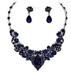 PERFECT color!  Sapphire Navy Blue Crystal Necklace Set Elegant Wedding Prom Formal Jewelry