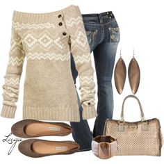A fashion look from November 2012 featuring Lole sweaters, Miss Me jeans and L'Autre Chose flats. Browse and shop related looks.