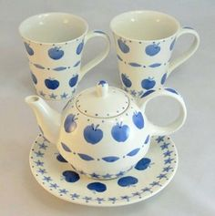 Beautiful BLUE APPLES & STARS Tea Set with Cups Saucers and Apple Teapot Pot | eBay