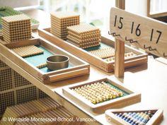 Montessori Math Shelf - golden bead material #montessori #montessorimath @wmswms (Westside Montessori School, Vancouver, BC)